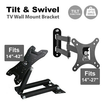 AU20.99 • Buy Tilt Swivel TV Wall Mount Bracket LCD LED Monitor 14,21,22,27,32,42 VESA 100 200