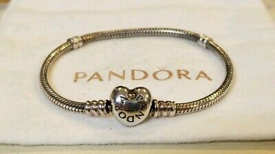 7f2a63468 Authentic~PANDORA~Sterling Silver Heart Clasp Bracelet #590719- 6.75 In. EUC