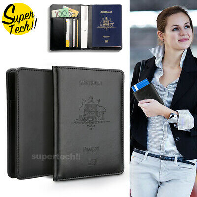 AU9.65 • Buy Leather RFID Blocking Passport Travel Wallet Holder ID Credit Cards Cover Case