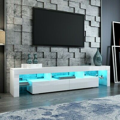 AU169.95 • Buy White TV Cabinet Television Stand Furniture Console Table 2 Drawers LED Light