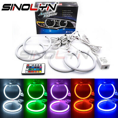 $53.99 • Buy RGB LED Cotton Angel Eyes Halos Rings For BMW 3 Series E46 Halogen Headlight DIY
