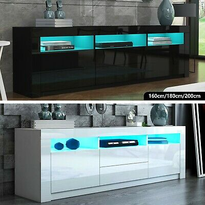 AU189.95 • Buy RGB LED Modern TV Stand Cabinet Wooden Entertainment Unit Storage Black/White AU