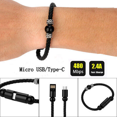 $1.54 • Buy Type C Mirco USB Data Charge Bracelet Wrist Band USB Charging Cable For Huawei