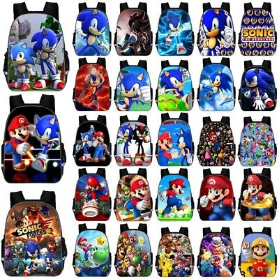 UK Boys Girls Super Mario Sonic Backpack Bag Student School Bag School Rucksacks • 11.12£