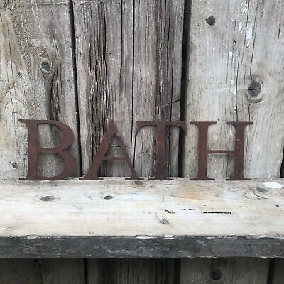 "Rustic 5"" Classic Font BATH Letters Sign Rusted Metal Word House Home Bathroom • 28.79£"