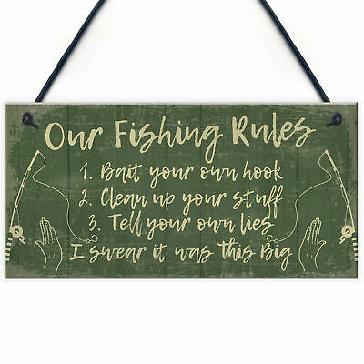 £3.99 • Buy Funny Fishing Gift Fishing Rules Sign Garden Shed Man Cave Plaque Dad Gifts