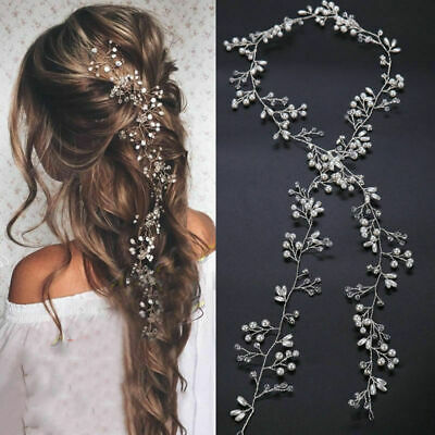 $3.41 • Buy Pearl Headband Hair Vine Long Accessories Chain Headpiece Crystal Bridal Wedding