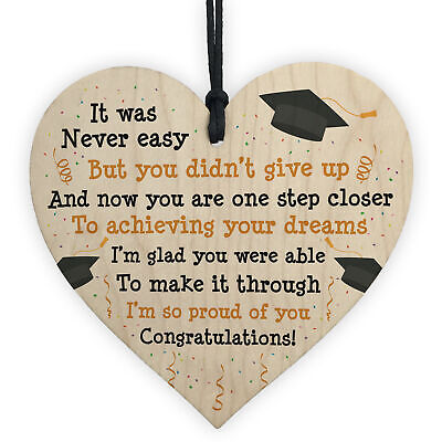 £3.99 • Buy Graduation Gifts Congratulations Wood Heart Plaque Leaving Uni Son Daughter Gift