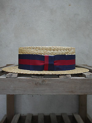 £110 • Buy Guards Straw Boater By Olney Headwear - UK Made Skimmer – Red And Blue Band
