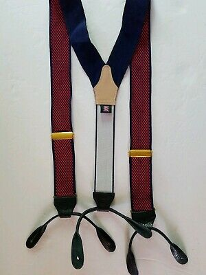 $12.34 • Buy Mens Suspenders Red Navy-Blue Check Strap And Elastic Gents Adjustable Braces