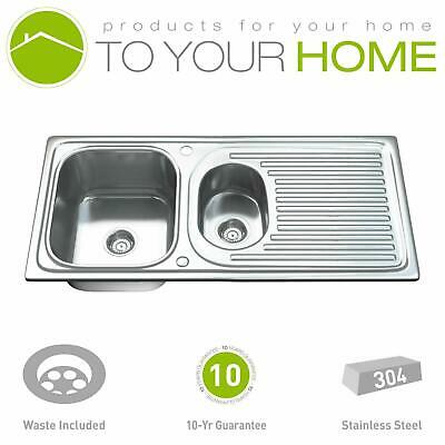 Dihl Double 1.5 Stainless Steel Kitchen Sink Drainer & Waste • 55.99£