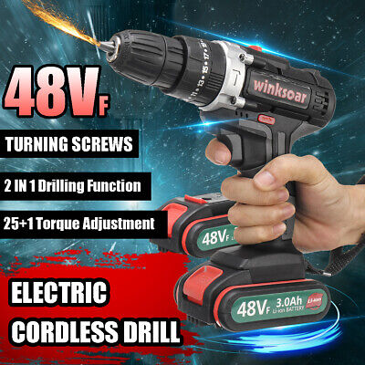 View Details 48VF Electric Cordless Drill Driver Kit LED Light 25+1 Torque W/ 2 Battery  • 41.99$
