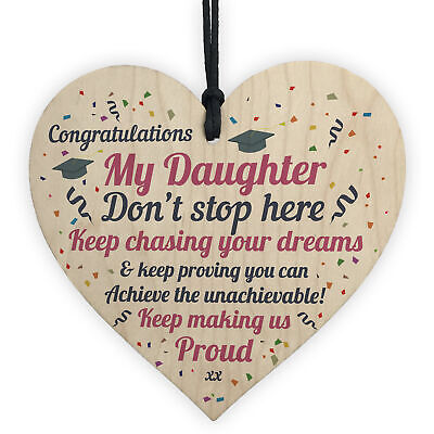 £3.99 • Buy Graduation Gifts For Daughter Wooden Heart Plaque Congratulations Univerisity