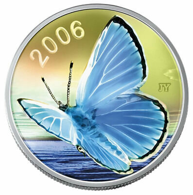 Canada 2006 50 Cent Silvery Blue Butterfly Sterling Silver Coin With COA + Box • 30.31$