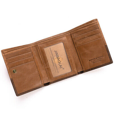 $ CDN18.66 • Buy 100% Genuine Leather Men's Trifold Wallet ID Credit Card Holder Money Clip