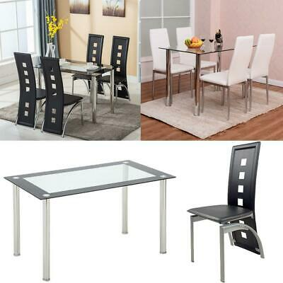 $185.95 • Buy 5 Piece Dining Set Glass Table And 4 Chairs Kitchen Breakfast Furniture New