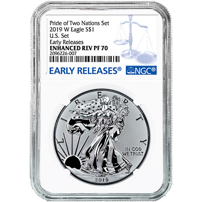 $199 • Buy 2019-W Reverse Proof $1 American Silver Eagle NGC PF70 Blue ER Label Pride Of Tw