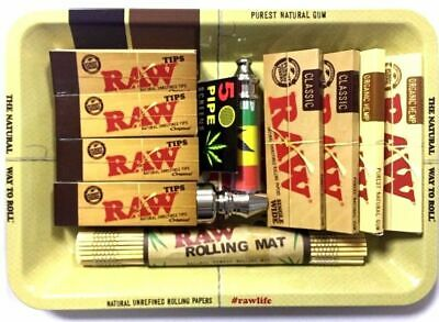 Christmas Gift Smoking Tray Set Grinder RAW Rolling Paper Tips Holder Rolls UK • 12.99£