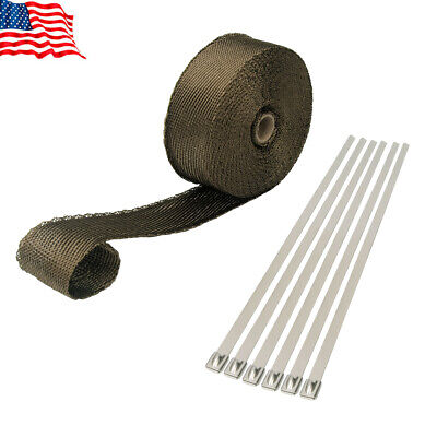 $18.99 • Buy 1 Roll Thermal Header Pipe Tape Titanium Lava Exhaust Wrap 2  X 50ft Ties Kit