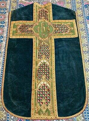 £550 • Buy Antique French Hand Embroidery Church Vestment Chasuble Priest Velvet