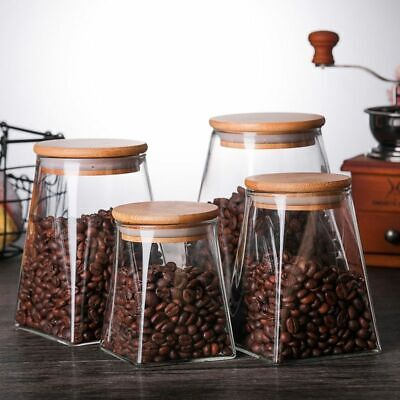 Glass Food Storage Containers With Lids Coffee Jar Tea Jar Glass Container Spice • 19.31£