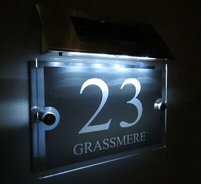 £32.41 • Buy MODERN SOLAR LIGHT House Signs Plaques Door Numbers 1 - 9999 Street Name LED