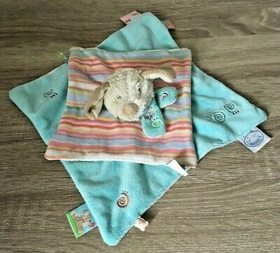 £4.95 • Buy Noukie's Blue Striped Dog Baby Comforter Soother Blankie Girls Boys Plush