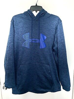 NEW Men/'s UNDER ARMOUR Cold Gear Pullover HOODIE Fitted Navy Blue BIG Logo LARGE