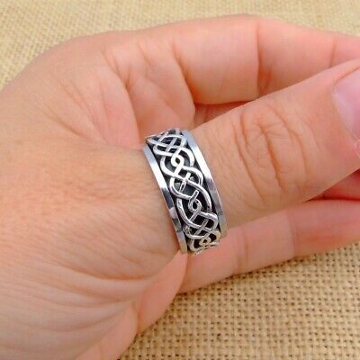 Mens Womens Plain 925 Sterling Silver Celtic Spinning Worry Band Thumb Ring 9mm • 22.45£