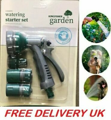 Garden Hose Pipe Tap Connector Fitting Water Attachments Nozzle Starter Set 4 PC • 5.99£