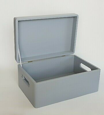 £14.99 • Buy Wooden Box Storage Chest Lid Handles 30x20x14cm Gray Boxes Furniture Home Decor