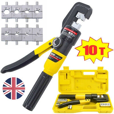 £27.99 • Buy 10 Ton Hydraulic Crimper Dies Crimping Tool Hose Battery Cable Wire Lug Terminal