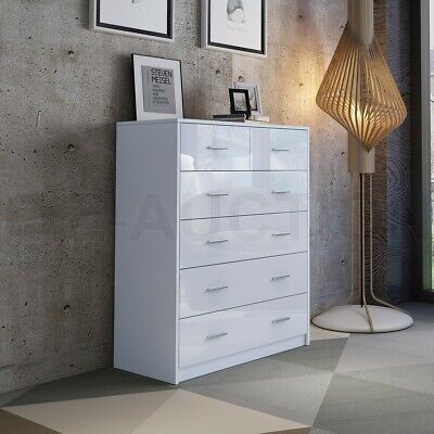 AU209.95 • Buy High Gloss 6 Chest Of Drawers Tallboy Dresser Table Storage Bedroom Cabinet WH
