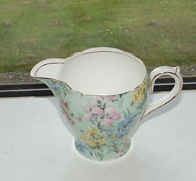 Shelley Fine China Melody Green Chintz 12973 Milk Jug 1940s • 25£