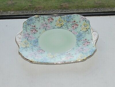 Shelley Fine China Melody Green Chintz 12974 Cake Plate 1940s • 25£