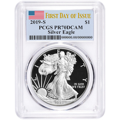 $115 • Buy 2019-S Proof $1 American Silver Eagle PCGS PR70DCAM FDOI Flag Label