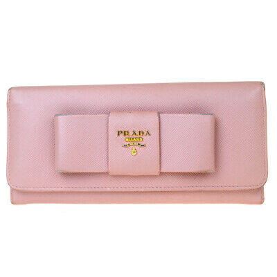 Authentic PRADA MILANO Logos Bifold Long Wallet Purse Leather Pink Italy 01ET013 • 74.88£