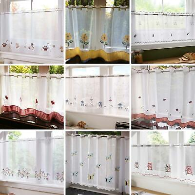 £7.95 • Buy Voile Cafe Panels Embroidered Ready Made Net Curtain Voiles 59  X 18  Or 24