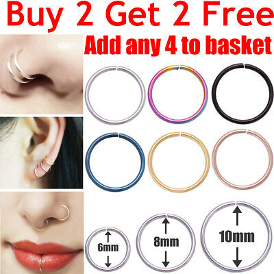 Nose Ring Surgical Steel Lip Nose Rings Daith Tragus Helix Ring Piercing Hoop • 1.39£