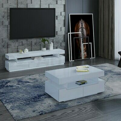AU169.95 • Buy TV Stand Cabinet Coffee Table Storage Entertainment Unit Wooden Furniture BK/WH
