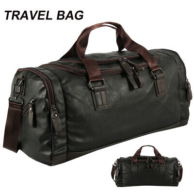 Leather Weekend Bag Genuine Travel Duffle Sports Cabin Gym Holdall Luggage Bag • 18.99£