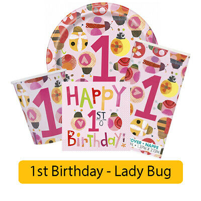 LADYBUG Age 1/1st/First BIRTHDAY Party Range Girl Tableware Supplies Decorations • 1.49£