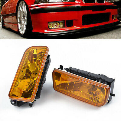$31.39 • Buy For BMW E36 M3 Chrome Lamps Yellow Lens 2Pcs  1992-1998 Fog Lights Replacement