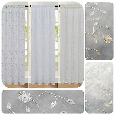 £13.99 • Buy Embroidered Voile Net Curtain Panel Rod Pocket Slot Top Single Panel Floral
