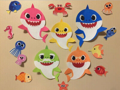 $9.99 • Buy BABY SHARK DooDooDoo FABRIC Wall Stickers 15pcs Mom Dad Grandma Grandpa Fish +