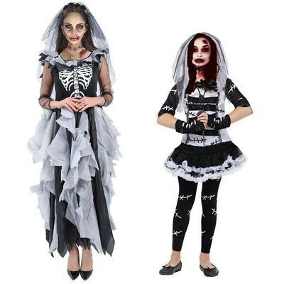 Adult Kids Scary Halloween Zombie Bride Day Of Dead Horror Fancy Dress Costume   • 22.99£