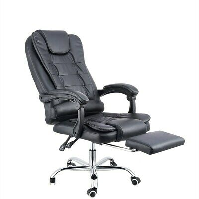 AU149 • Buy 8 Point Massage Executive Office Computer Chair Heated Recliner Black PU Leather