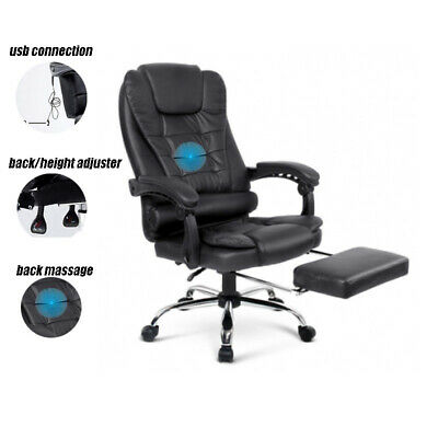 AU209 • Buy 8 Point Massage Executive Office Computer Chair Heated Recliner Black Pu Leather