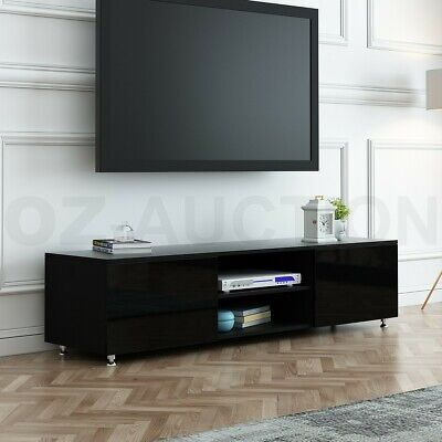 AU119.95 • Buy TV Stand 160cm Lowline Entertainment Cabinet High Gloss Front Wooden Unit Black