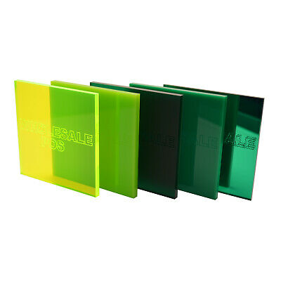 Green Colour, Tinted & Mirror Acrylic Perspex® Plastic Sheets 3mm & 5mm Thick • 28.54£
